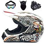BDUCK Casco de moto casco de motocross profesional, casco infantil,ECE homologado adultos niños quad bike ATV go-kart-helmcasco de cross (S (54cm-55cm))