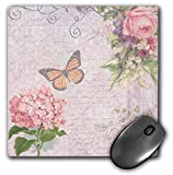 shabby chic pink floral mousepad with butterfly