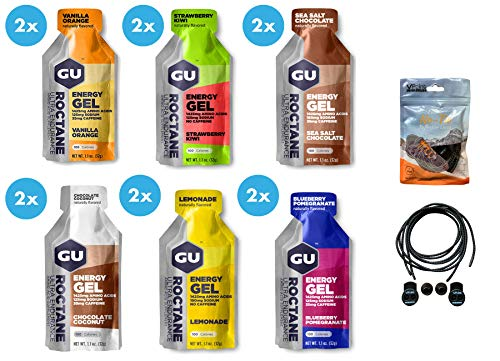 GU Roctane Ultra Endurance Energy Gele, 12 Stück (2 x 6 verschiedene Geschmacksrichtungen), gebündelt mit einer exklusiven Packung elastischer, reflektierender Schnürsenkel