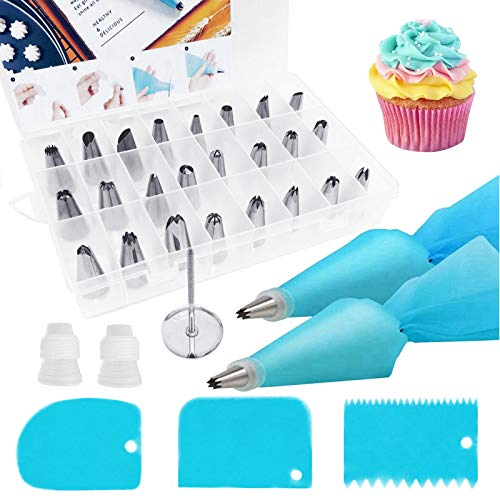 32Pcs Piping Bags And Tips Set 2 Reusable Silicone Pastry Bag 24 Stainless Steel Icing Tips 3 Icing Smoother 2 Couplers & 1 Flower Nails Home Baking Cake Decorating Supplies Kit Frosting Piping Kit