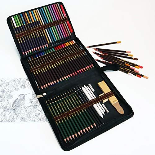 lapices colores profesionales,kit para dibujar a lapiz,72 dibujos a lapiz con color y herramientas de dibujo,Incluye lápices metálicos,acuarelables,carbón,lápices pastel y caja de lápiz