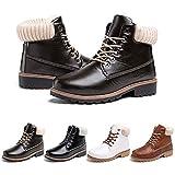 Botas Mujer invierno Botines Nieve Zapatillas Trekking Calentitas Boots Cordones Zapatillas Planas Casuales Antideslizante Verde Talla 43 EU