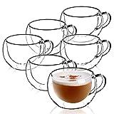 KADAX - Taza de cristal de doble pared (280 ml, cristal para café, para té, café, capuchino, agua, espresso, hielo, cristal, con asa, taza de café, transparente, 22.5 x 11.5 x 8.5 cm