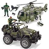 JOYIN Juguetes de Vehículos Militares, Avión de Transporte y Camión Militar con Motor de Fricción y Sirenas de Luz y Sonido, Figuras de Soldados del Ejército para niños