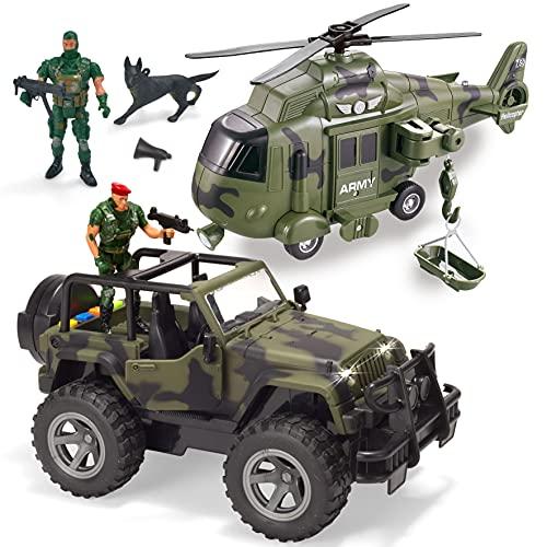 JOYIN Juguetes de Vehículos Militares, Avión de Transporte y Camión Militar con Motor de...