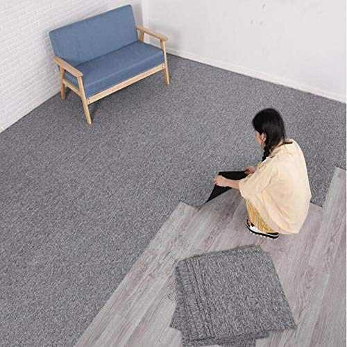 uyoyous Teppichfliesen Nadelfilz 50x50cm, 28 Fliesen=7 m² selbstklebend Teppichboden Bodenbelag Nadelfilz Fliesen Matte PVC-Sichern für Büro Gewerbe (Hellgrau)