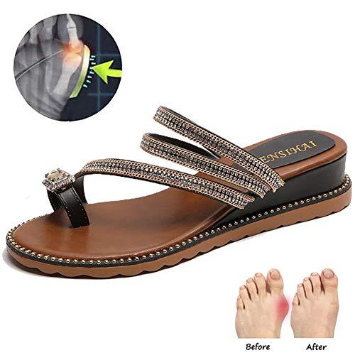 Frauen-Mode Strass Pailletten Slippers Clip Zehekeil Flip Flops Schmerzlinderung Hallux Valgus Korrektur Schuhe,Schwarz,37