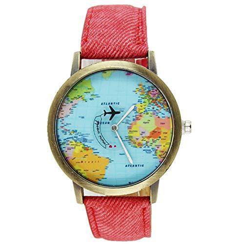jieGorge Reloj para Mujer, Nuevo Mapa Global de Viajes en avión para...