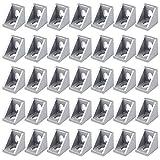 35 Piezas Soporte de Esquina 2020 Soporte de Esquina de Aleación de Aluminio L Forma de Soporte de Esquina Aluminio, 20 x 20 mm (Mate)