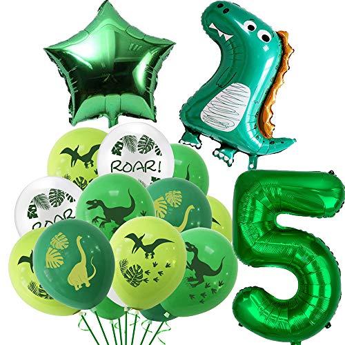 Dino Luftballons Geburtstag 5 Jahr, Geburtstagsdeko Kinder 5. Geburtstag Party Dekoration Dinosaurier Kindergeburtstag Deko Riesen Folienballon Zahl 5, Geburtstag Ballons für Junge Mädchen Babyparty