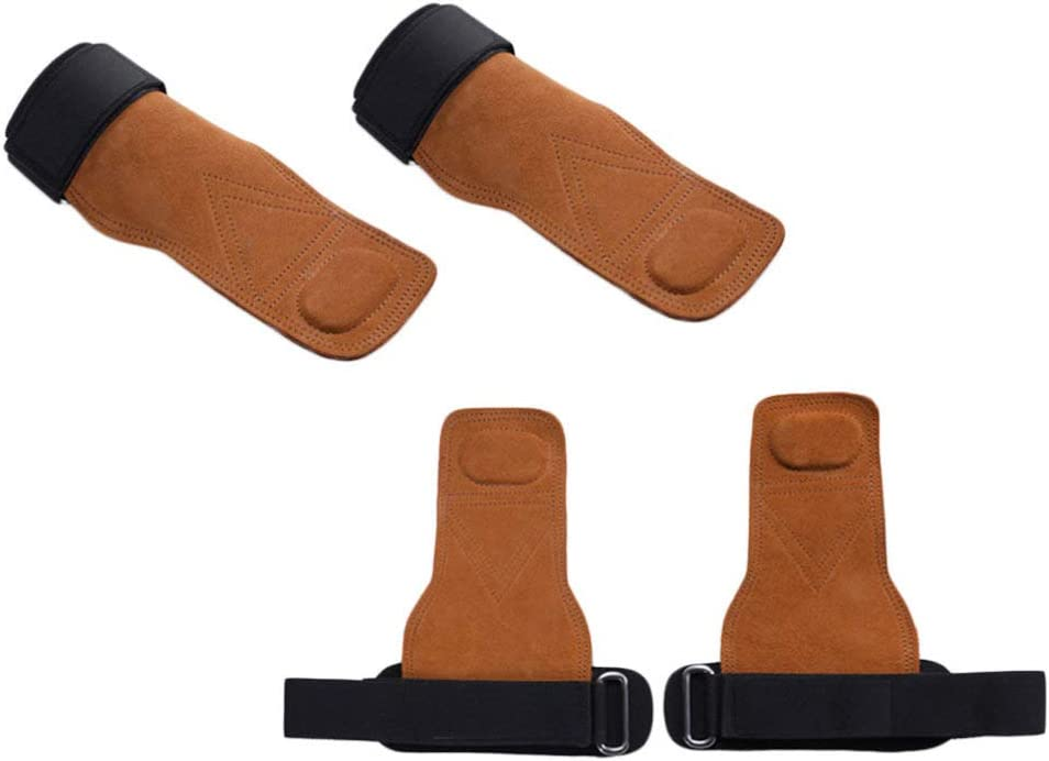 HEALLILY 1 shopping Pair Leather Hand Grips Stra Pull Up Wrist with Low price