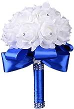 Colorful Foam Roses Artificial Flower Wedding Bride Bouquet Party (Blue+White)