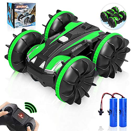 Toys Car RC Car Amphibious Remote Control Car Boat for Kids, 2.4 GHz RC Stunt Car 4WD Off Road Monster Car Double Sided 360° Rotating Land Water 2 in 1 Waterproof Remote Car for Kids, Green