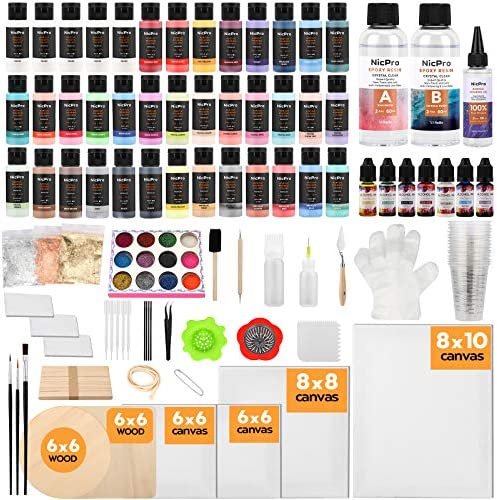 Nicpro 39 Colors Pouring Paint Kit Ready to Pour Acrylic Paint with 4pcs Canvas and Wood Slices product image