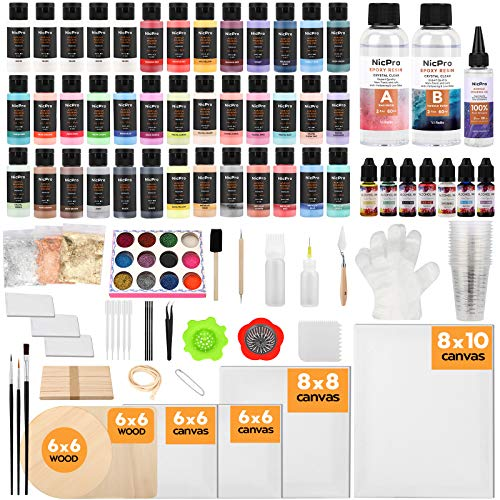Nicpro 39 Colors Pouring Paint Kit, Ready to Pour Acrylic Paint Supplies With 4pcs Canvas and Wood Slices, Epoxy Resin, Pour Oil, Tool including Brushes, Gloves, Strainer, Cup, Epoxy Resin, Instructions Flow DIY Painting
