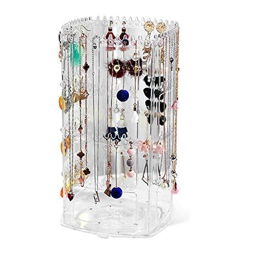 YINLANG Colgador de joyería, Collar, Soporte de Pendiente Giratorio de 360 Grados, Organizador de suspensión de joyería de acrílico, Soporte de exhibición de Collares de Pendientes