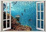 HAOJ ventana 3d nuevo pez bajo el agua decoración de la habitación de los niños pegatinas de pared calcomanías acuario pegatinas de pared creativas regalo de cumpleaños 50x70cm