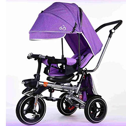 SSLC 4-in-1 baby driewieler vouwwagen Kids Trike afneembare luifel Trike Walker 3 wiel duwhandvat leren fiets w/handvat anti-slip pedaal roterende stoel 360° Maximaal gewicht 30 kg