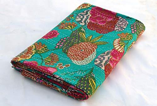 Bhawana Handicrafts Kantha-Decke, Kantha-Motiv, handgefertigt, Kantha-Decke, indische Baumwolle, Kantha-Tagesdecke, wendbar, Kantha-Picknick-Überwurf, Kantha-Bettwäsche, Seegrün