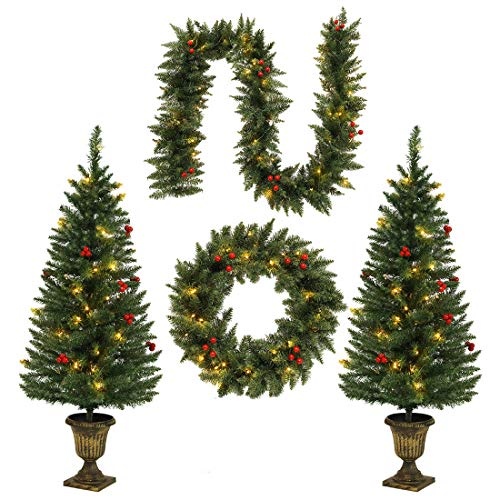 HOMAKER 4FT Christmas Tree Garland Wreath Set, Decorative Bases 200 UL Certificated LED Lights, Artificial Xmas Spruce Tree Red Berries