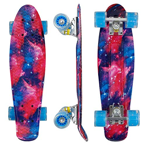 """Geelife 22"""" Complete Mini Cruiser Skateboard for Beginners Youths Teens Girls Boys with LED Wheels (Universe)"""