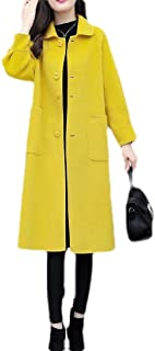 Macondoo Women Winter Wool Blend Outwear Single Breasted Mid-Long Pea Coats