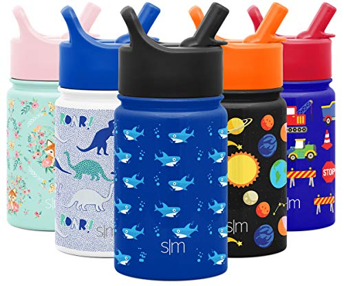 Simple Modern 10oz Summit Kids Water Bottle Thermos with Straw Lid - Dishwasher Safe Vacuum Insulated Double Wall Tumbler Travel Cup 188 Stainless Steel -Shark Bite