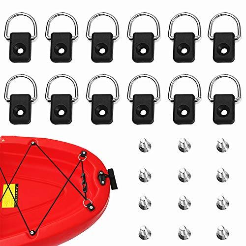 yeemeen 12PCS Kayak D Ring Anelli a D per Kayak Boat Rigging D Ring Safety Tie Down Loop Deck Accessori di Montaggio con 12PCS Viti M6 per Canoa Kayak Pesca in Barca a Vela, Acciaio Inossidabile