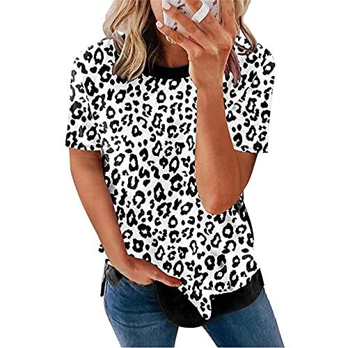 Verano Casual Ropa De Mujer Cuello Redondo Estampado De Leopardo Manga Corta Camiseta Suelta Tops