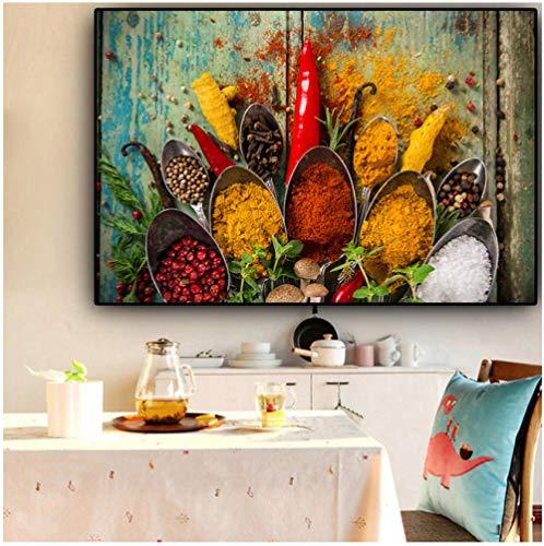Wangchengp Graan specerijen lepel canvas schilderij Cuadros Scandinavische posters en muurkunst keuken eten afbeelding woonkamer Home Decor 60X120cm(23.6 * 47.2inch) Met frame.