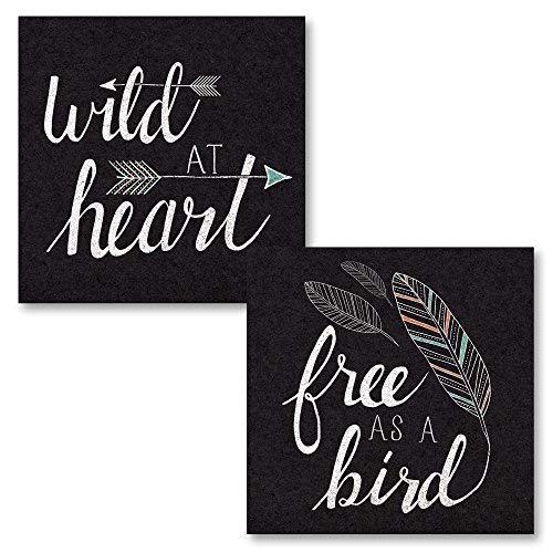 Leoner22art Casual vrij als een vogel zwart & wild in hart zwart (gedrukt op canvas), twee 8x10 inch ongekaderde Canvas kunst gedrukt