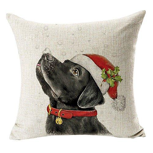 Pu Ran Christmas Dog Santa Claus Reindeer Cushion Cover Throw Pillow Case Home Sofa Decor - #10 Santa Hat Black Labrador