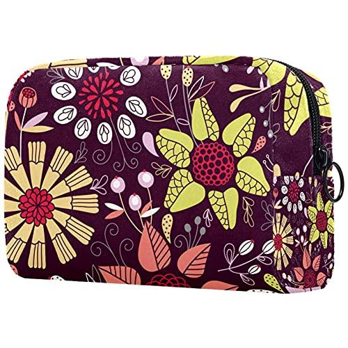 Neceser Viaje Hombre Y Mujer Buganvillas De Colores Pequeño Bolsas De Aseo Neceser Maquillaje Pack Neceser Baño Toiletry Kit, Cosmético Organizadores De Viaje 18.5x7.5x13cm