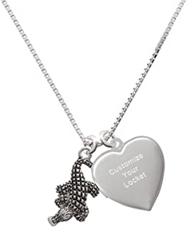 Royal Lion Silver Heart Necklace I Love Football