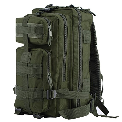 OUTAD Zaino Militare Tattico 30L in Oxford, 3P Zaino Molle Campeggio Escursionismo Zaino d'Assalto Bag, Woodland Militare