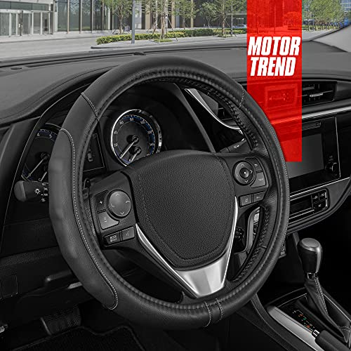 Motor Trend GripDrive Pro Synthetic Leather Auto Car Steering Wheel Cover Black