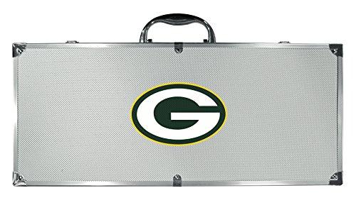 NFL Siskiyou Sports Fan Shop Green Bay Packers Stainless Steel BBQ Set w/Metal Case 8 piece Gray