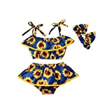 Leesiy Toddler Baby Girl Sunflower Swimsuit Off Shoulder One-Piece Swimsuit Bathing Suits Beachwear (Navy Blue, 12-18Months)