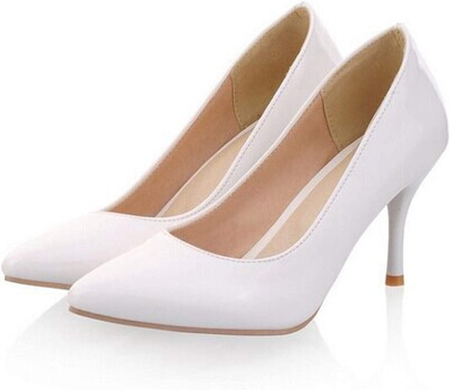 High Heels Women Pumps Thin Heel Classic White red Nude Beige Sexy Ladies Wedding shoes,White,15