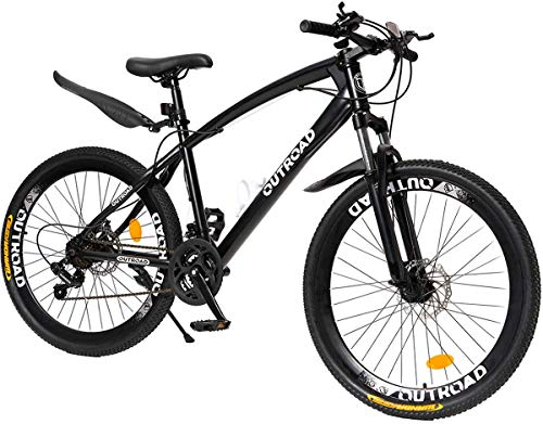 PanAme Mountain Bike 26 Inch High Carbon Steel Frame Bike with 21 Speed Shimano Shifter and Double Disc Brake, Front Suspension Anti-Slip Bicycle for Adult, Black