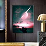 qinminsru Saturn Stary Night City Moonlight Poster