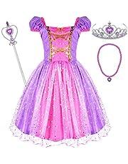 Tacobear Princesa Rapunzel Disfraz Niña Rapunzel Vestido con Princesa Collar Varita Mágica Corona Halloween Cosplay Carnaval Princesa Disfraz para Niña 2 3 4 5 6 Años