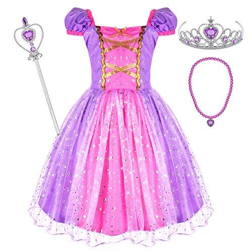 Tacobear Princesa Rapunzel Disfraz Niña Rapunzel Vestido con Princesa Collar Varita Mágica Corona Halloween Cosplay Carnaval Princesa Disfraz para Niña 2 3 4 5 6 Años(2-3 Años)