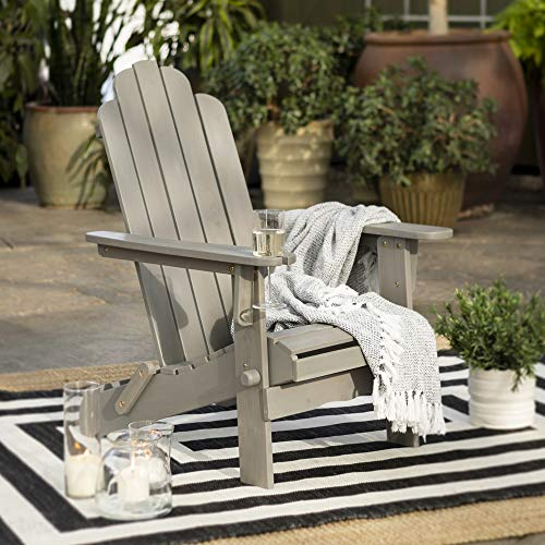Walker Edison Sullivan Classic Solid Acacia Wood Outdoor Folding Adirondack Chair, 38 Inch, Grey Wash