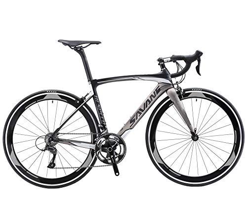 SAVADECK Warwind3.0 Carbon Rennrad 700C Kohlefaser Rahmen Fahrrad mit Shimano SORA R3000 18-Fach Kettenschaltung und Doppel-V-Bremse (grau, 56cm)