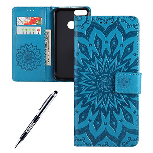 Kompatibel mit Xiaomi Mi A1 Hülle,JAWSEU Sonnenblume Schutzhülle Brieftasche Hülle Leder Tasche Handyhülle LederHülle Flip Hülle Wallet Tasche Handytasche für Xiaomi Mi A1,Mandala Blau