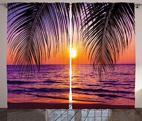 """Ambesonne Tropical Curtains, Sunset Over The Ocean with Tropical Palm Trees Twilight Sundown Scenery, Living Room Bedroom Window Drapes 2 Panel Set, 108"""" X 84"""", Orange Purple"""