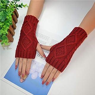 SfHx 秋と冬のダイヤモンドハーフフィンガー手袋女性の暖かい半袖ウールニット