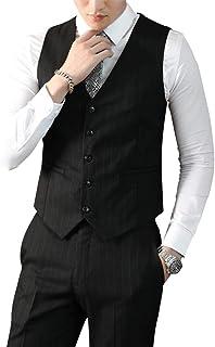 [YUNCLOS] ジレ ベスト メンズ ビジネス 結婚式 紳士 チェック柄 ストライプ柄 フォーマル スーツ仕立て Vネック