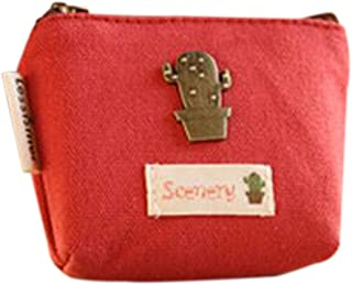 Luxurious Women's Kid's Canvas Coin Purse Zipper Pouch Wallet,Colour:Dark Red (Color : Red)